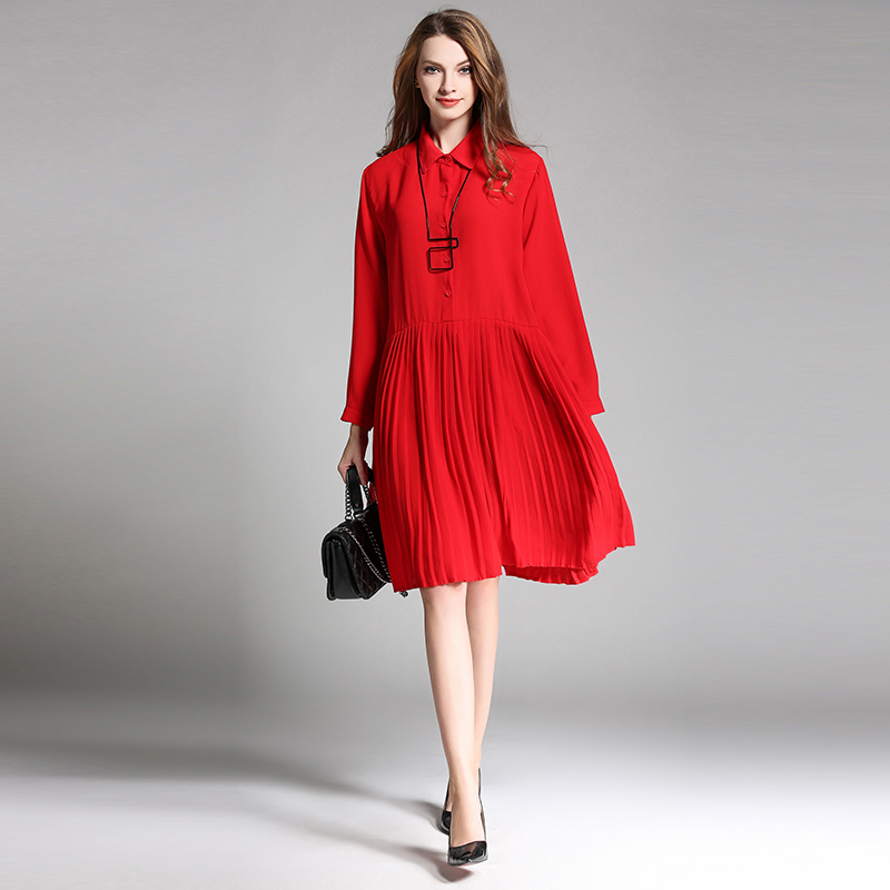 Spring new Plus size chiffon dresses Thickening pleated dress oversize women 39 s clothing L to 4XL Elegant A line dress in Dresses from Women 39 s Clothing