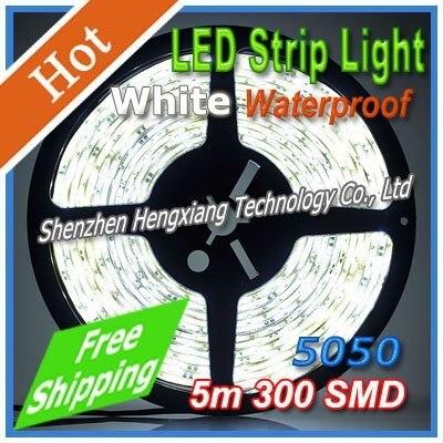 Free Shipping Adhesive Flexible LED Strip Light Lamp Magic White SMD 5050 300leds 5m Waterproof Wholesale Christmas adornment