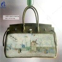 Классический большой Ёмкость сумки пейзаж печать холст Курьерские сумки Для женщин известный Брендовая Дизайнерская обувь ручка сверху