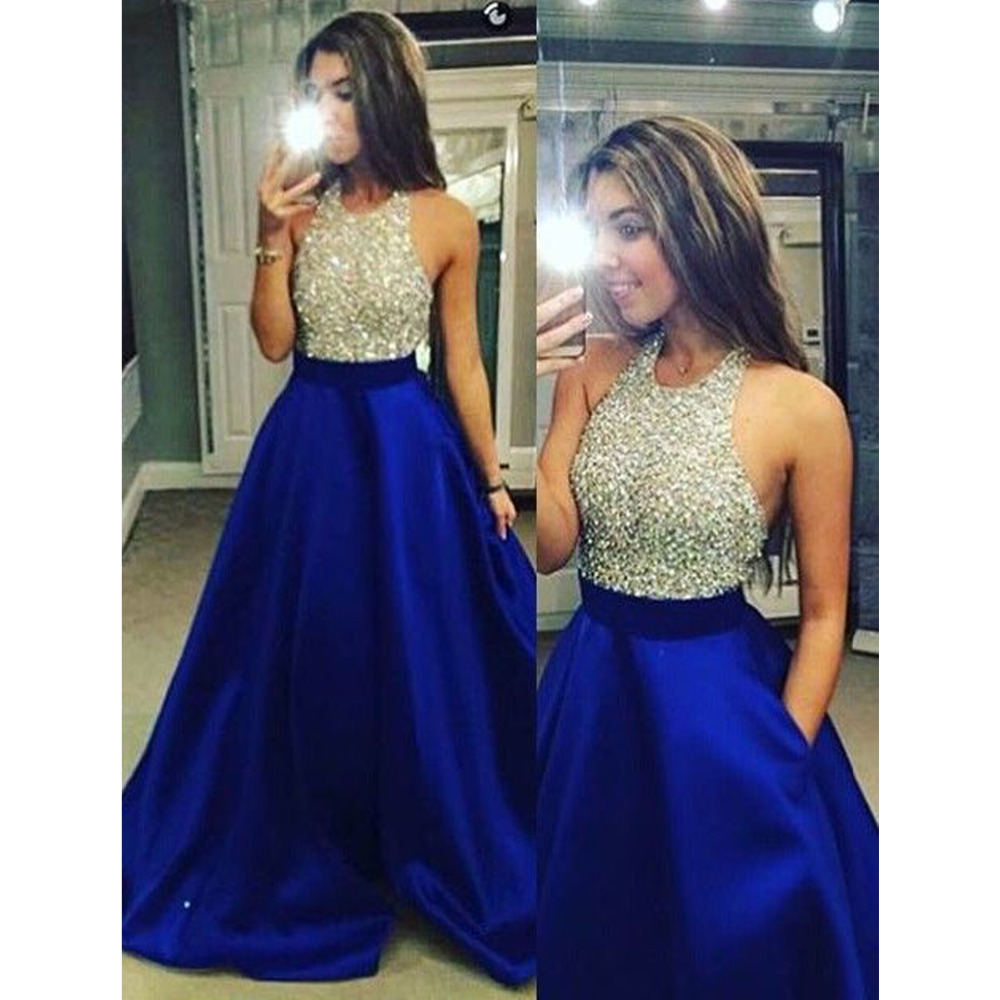 fee571586d9 A Line V Neck Royal Blue Satin Prom Dress With Beading Pockets ...