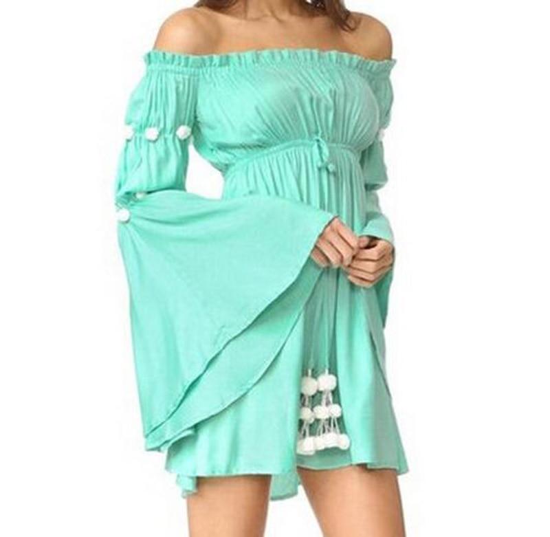 Rövid ruházat a vállon 2018 Új strand nyári ruha rugalmas szalag - Női ruházat