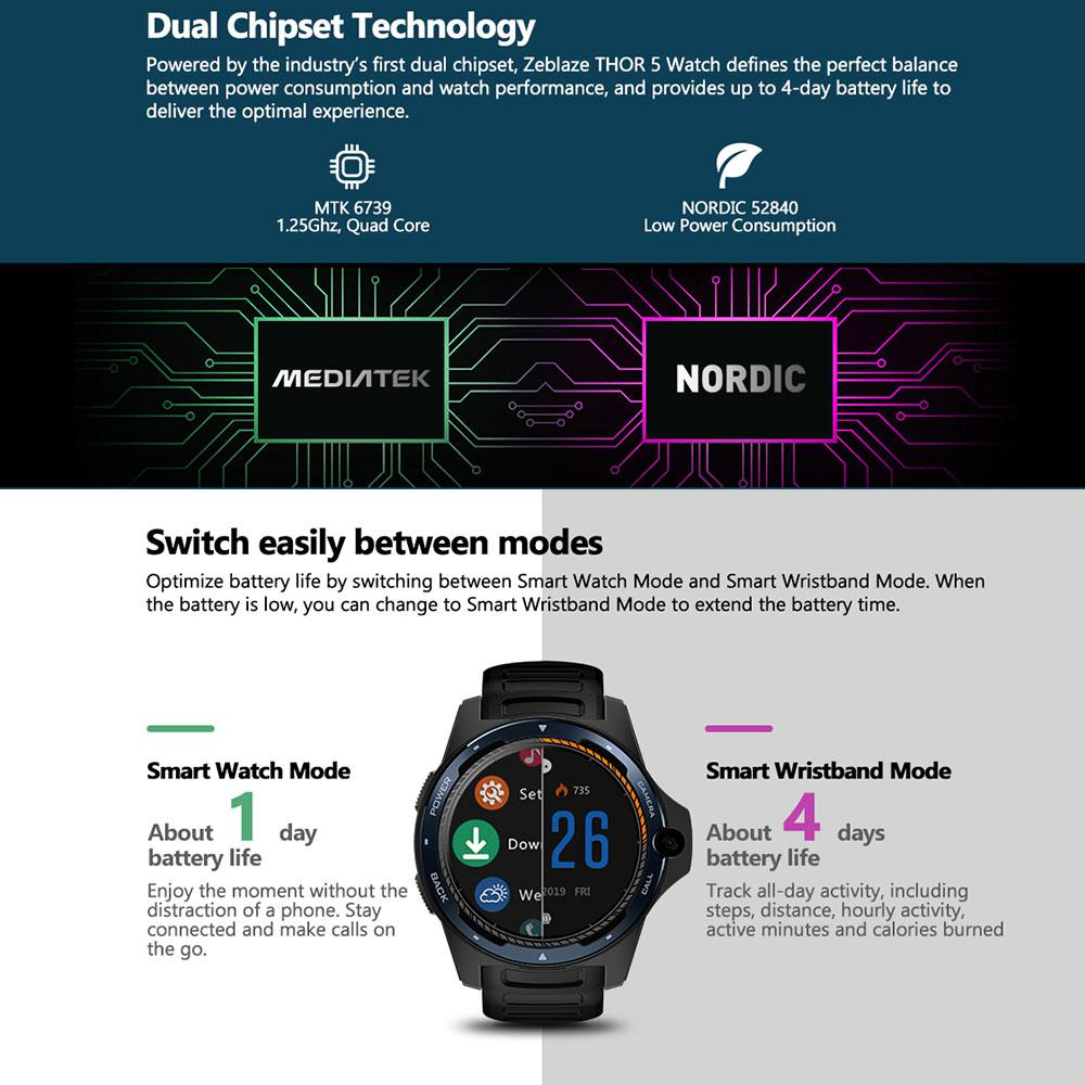Zeblaze THOR 5 Dual System Hybrid Smartwatch 1 39 quot AOMLED Screen 454 454px 2GB 16GB 8 0MP Front Camera Smart watch in Smart Watches from Consumer Electronics