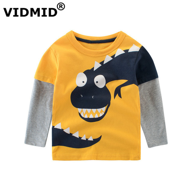 VIDMID kids cartoon long sleeve t-shirts baby girls boys dinosaur clothes boys cars and trucks cotton t-shirts tops 4037 02