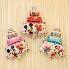 44x30cm Disney Hot Mickey Minnie Cake Balloon Happy Birthday Party Decorations Baby Shower