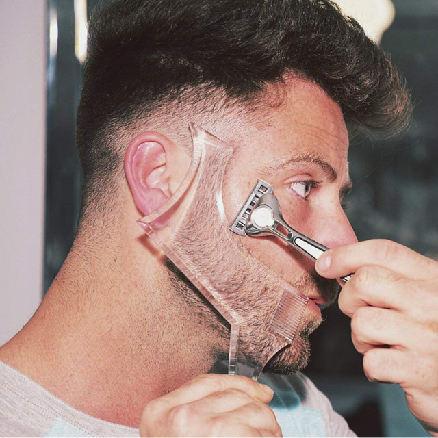 Nuevas llegadas hombres barba modeladora Plantilla de peinado peine transparente hombres barbas peines herramienta de belleza para el cabello barba ribete plantillas