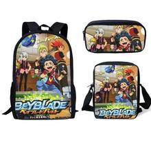 Мода: Beyblade Burst игра 3 шт. набор рюкзаков 3D Аниме принт студенческий Школьный Рюкзак Школьная Сумка подростковая мягкая спинка