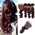 Burgundy Loose Wave Brazilian Virgin Hair Loose Curly Virgin Hair Cheap Wavy Human Hair 99j Deep Red Wave 3 Bundles With Closure