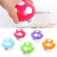Cute Mini Mushroom Dust Cleaner Corner Desk Table Vacuum Cleaner Sweeper Dust Collector Household Computer Keyboard Clean Brush(China)