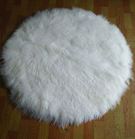 Большой размер круглой формы чистый белый длинные волосы Монголия ковер овчины натуральной овечьей шерстью ковер