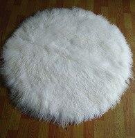 Большой размер круглой формы чистый белый длинные волосы монгольский ковер из овчины из шерсти ягнёнка меховой ковер
