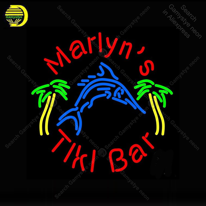 Neon Sign for tiki bar with shark Neon Bulb handcraft Beer bar signglass neon signboard Decorate Hotel restaurant advertise image