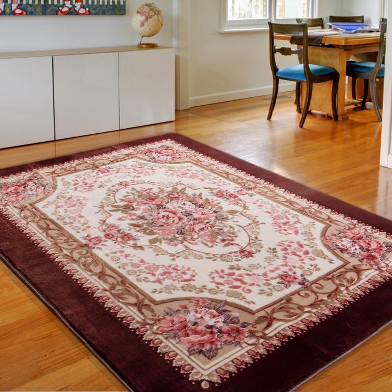 Honlaker European Flowers Living Room Carpet Bedroom Rugs and Carpets Deluxe Decorative Large Floor Mats