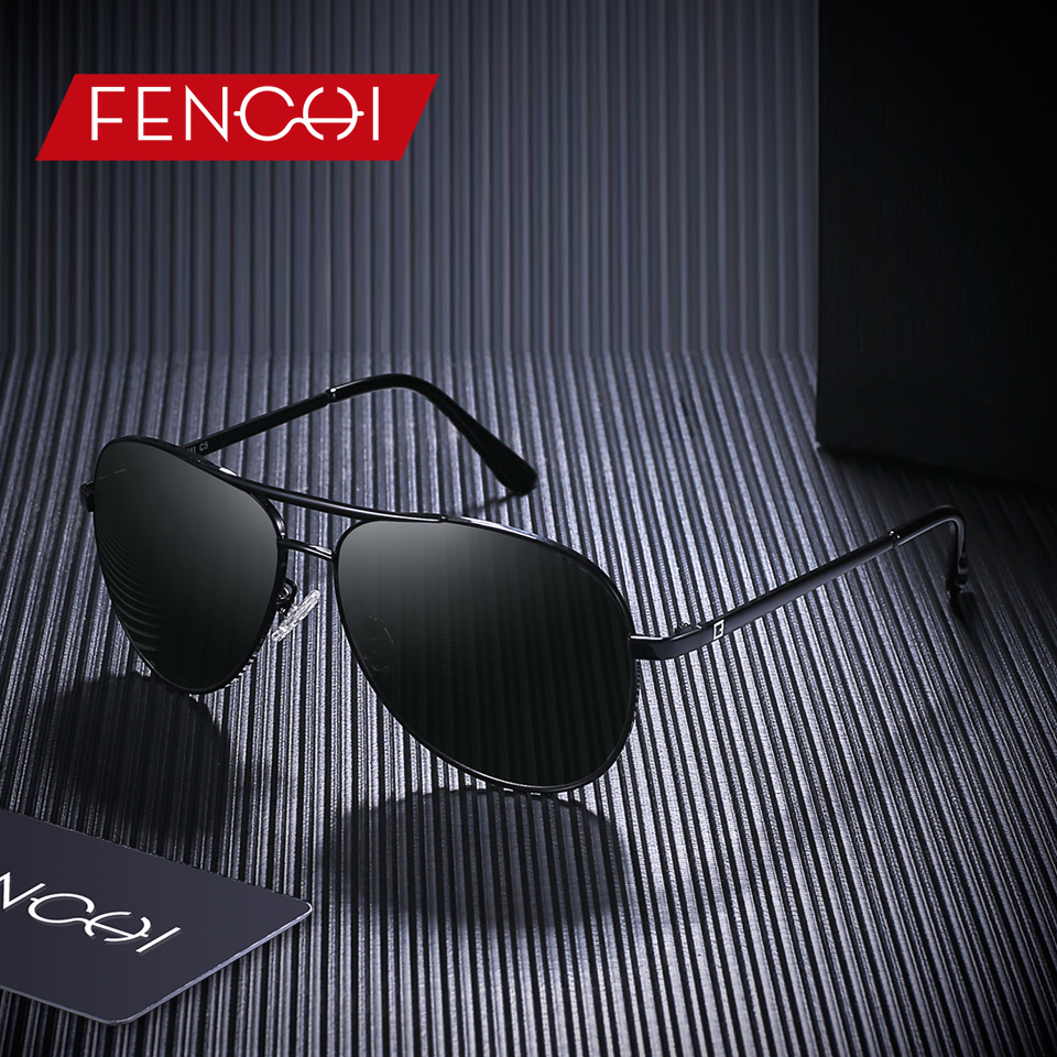 FENCHI Design Sunglasses Men Retro New Driving Vintage Fashion Fishing Pilot High Quality Metal Frame