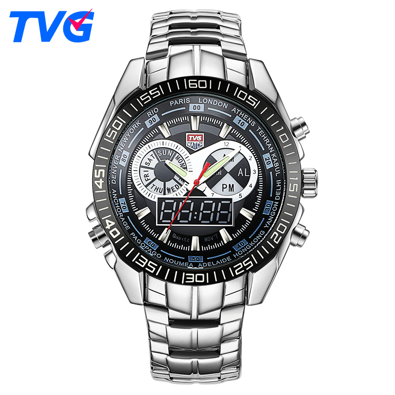 TVG Luxury Brand Watch Men Waterproof Sport Digital LED Watch Military Quartz WristWatches Clock Men Relogio Masculino Xfcs цена