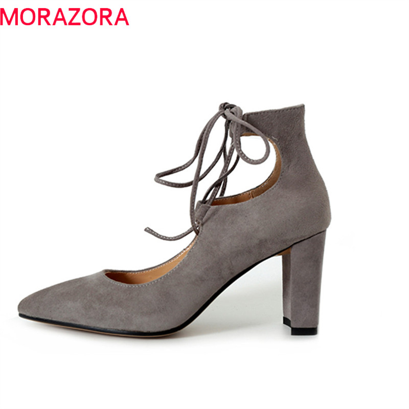 MORAZORA 2018 new women pumps spring summer classic pointed toe top quality suede leather size 34-39 lace up high heels shoes new 2017 spring summer women shoes pointed toe high quality brand fashion womens flats ladies plus size 41 sweet flock t179