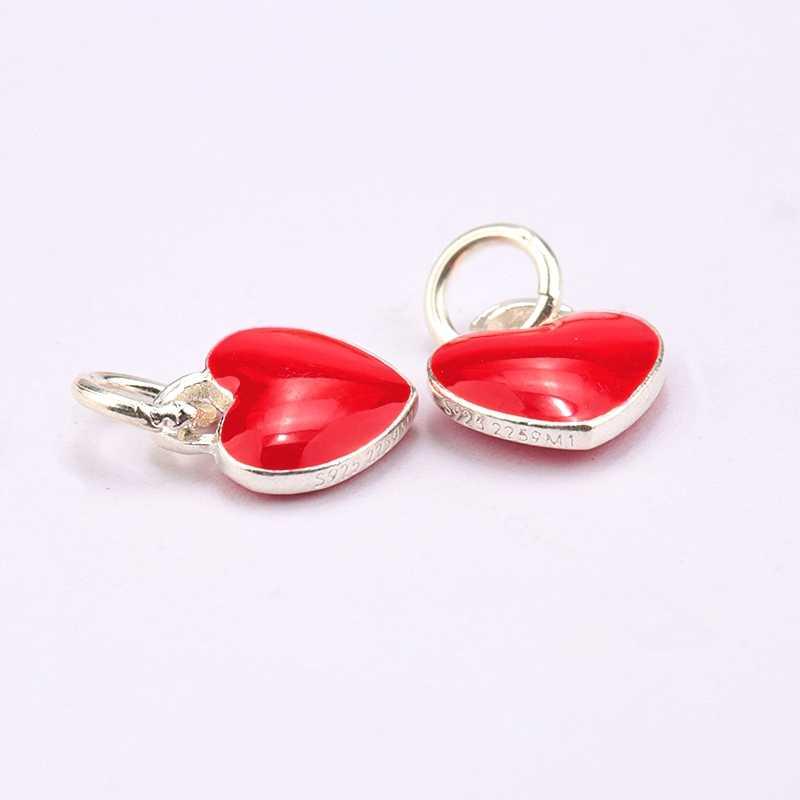 1 adet 925 Sterling-Silver epoksi zanaat kırmızı aşk kalp kolye takı yapımı için kolye bilezik DIY, takı bulguları