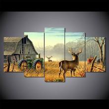 Modular Canvas HD Prints Paintings Home Decor 5 Pieces The Forest Cabin And Deers Pictures Animal Posters Living Room Wall Art