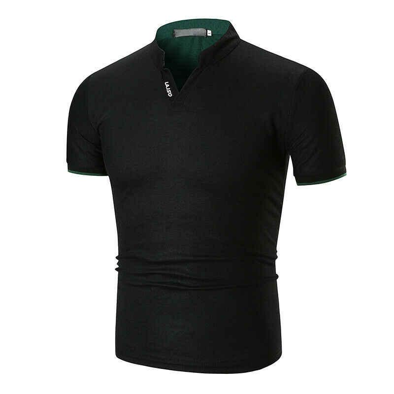 Chemise homme chaude en coton uni coupe ajustée à manches courtes col en v décontracté haut d'été Muscle décontracté homme été mode chemise basique t-shirt