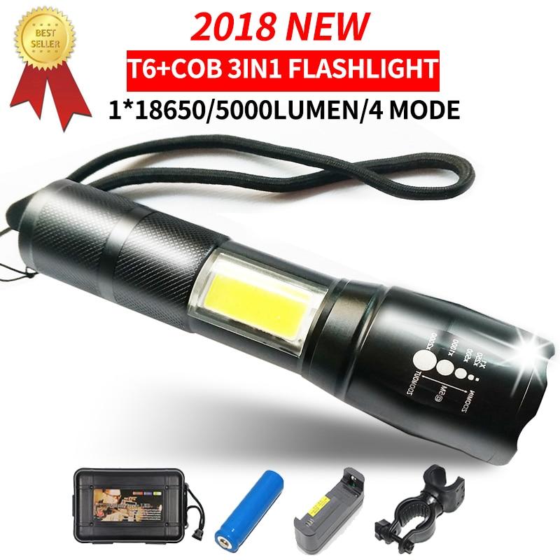 2018 Cree Torche Lumière Cob Led lampe de Poche T6 Lampe Zoomables Portable Torche T6 18650 Batterie Rechargeable Led Lumière Torche Lanterne