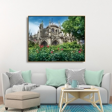 Laeacco Canvas Calligraphy Painting Paris Cathedral in France Posters and Prints Wall Pictures for Living Room Home Decoration