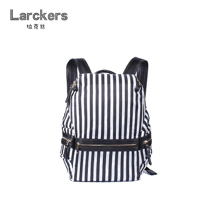 Mode femmes sac à dos noir et blanc rayé coton tissu dentelle motif femmes sac bandoulière softback