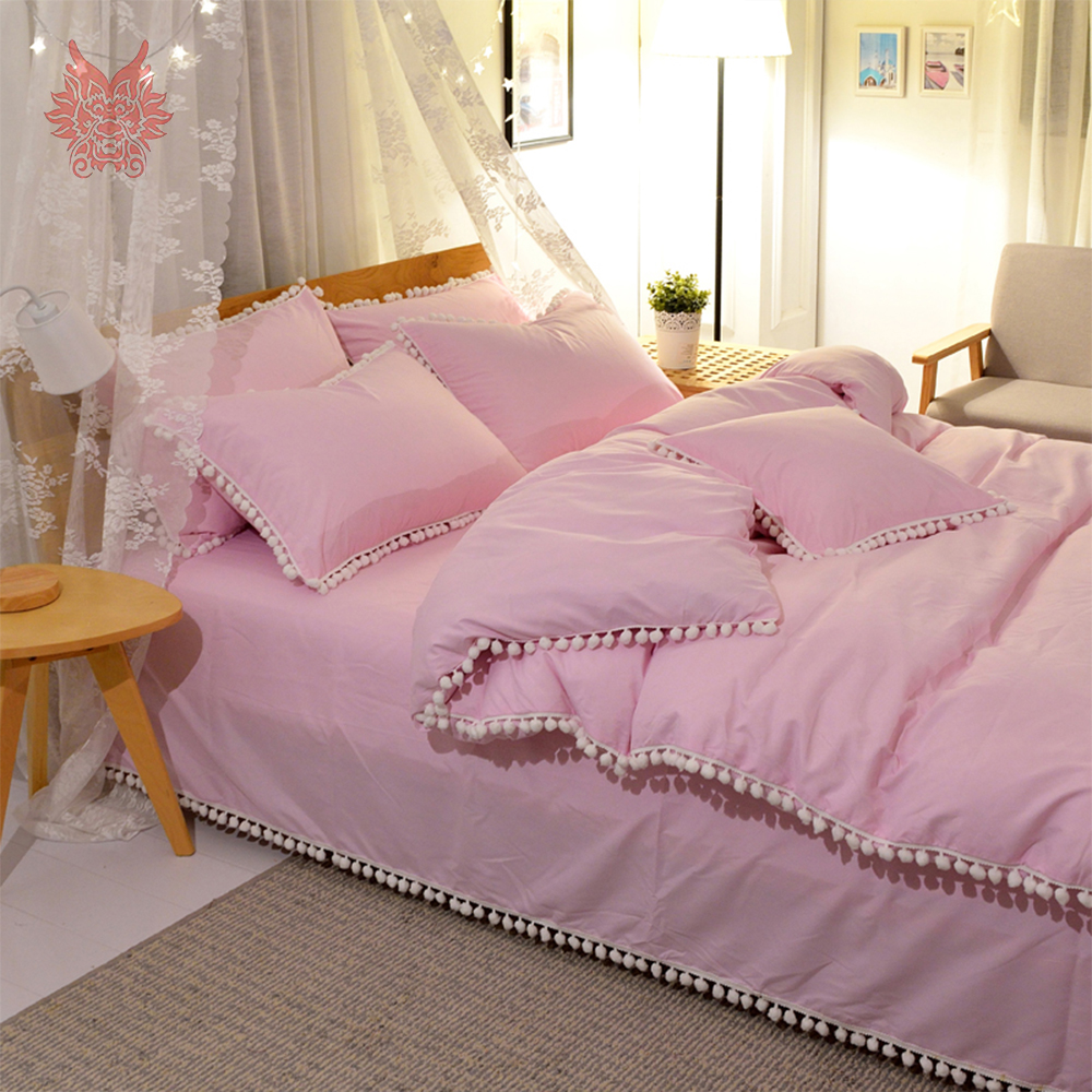 Hot sale 9 colors solid 100% pure cotton bedding set small ball decor duvet cover set flat sheet sabanas type drap de lit SP4302 ...