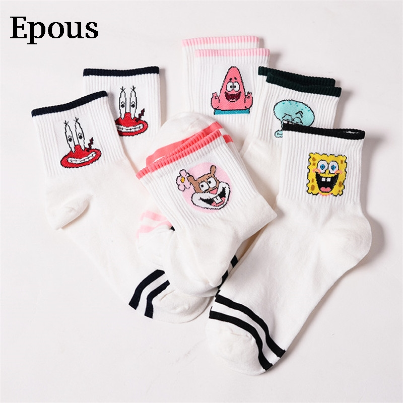Epous Fashion Cartoon Character Cute Short Socks Women Harajuku Cute Patterend Ankle Socks Hipster Skatebord Ankle Funny Socks