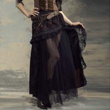 Women Chiffon & Lace Gothic Steampunk Long Irregular Skirt SP144