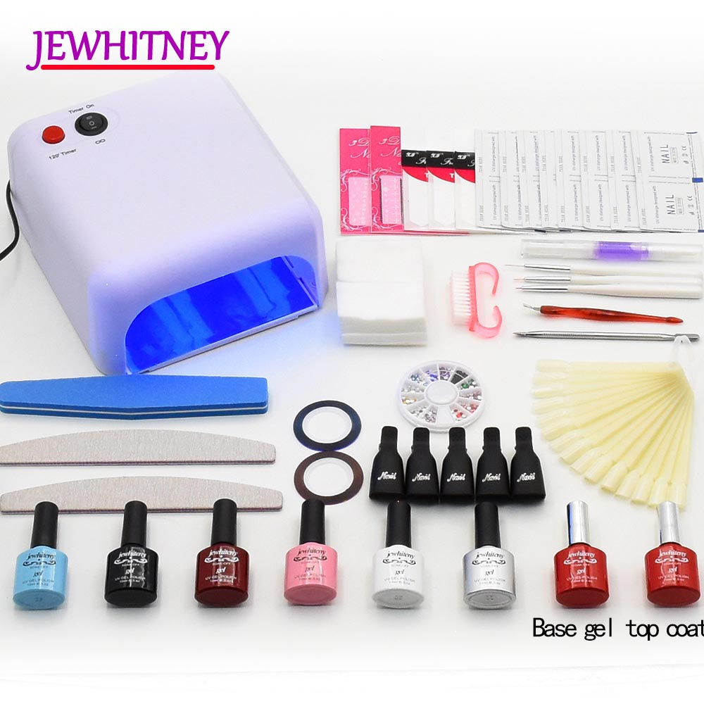nail gel polish nail set 36W UV Lamp Manicure Set soak off uv gel Varnish Lacquer nail polish kit Dyrer nail art manicure tools 12pcs lot green series uv gel nail polish led lamp gel lacquer gel polish vernis semi permanent gel varnish nail primer base top