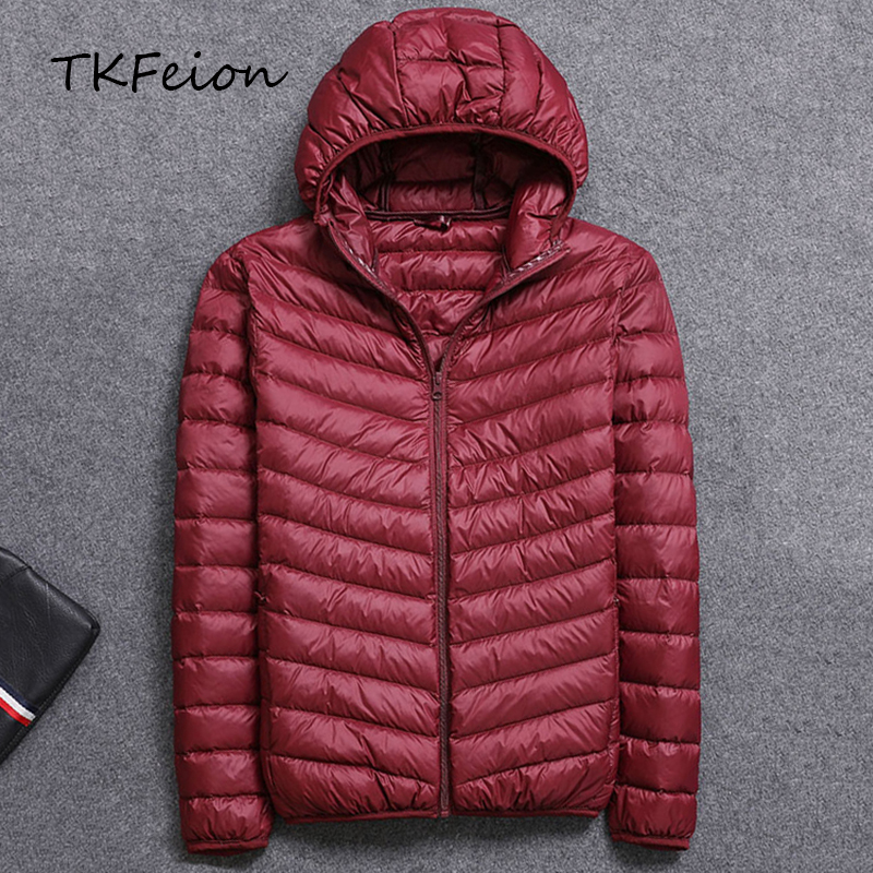 Spring/Autumn Mens Hooded Jacket Fashion Lightweight Portable With Hat Plus Size 4XL 5XL Male Duck Down Slim Coat Clearance Sale