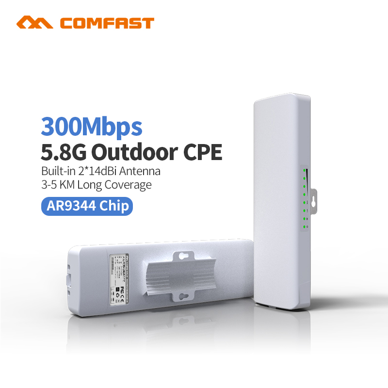 COMFAST CF-E312A AR9344 Outdoor CPE 5.8G wireless Router 300M Wifi Access Point Router Wi Fi Repeater Signa Amplifier nanostion comfast 750mbps high power router 11ac wifi access point 6 6dbi antenna 600 square meters coverage wireless router cf wr635ac