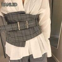 2017 New Fashion Lattice Belt High Waist Retro Thin Widen Plaid Slim Women Belts