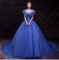 Cinderella Blue Quinceanera Prom Party Dresses 2019 Off The Shoulder Ball Gown Vestidos De 15 Plus Anos Sweet 16 Dresses 326