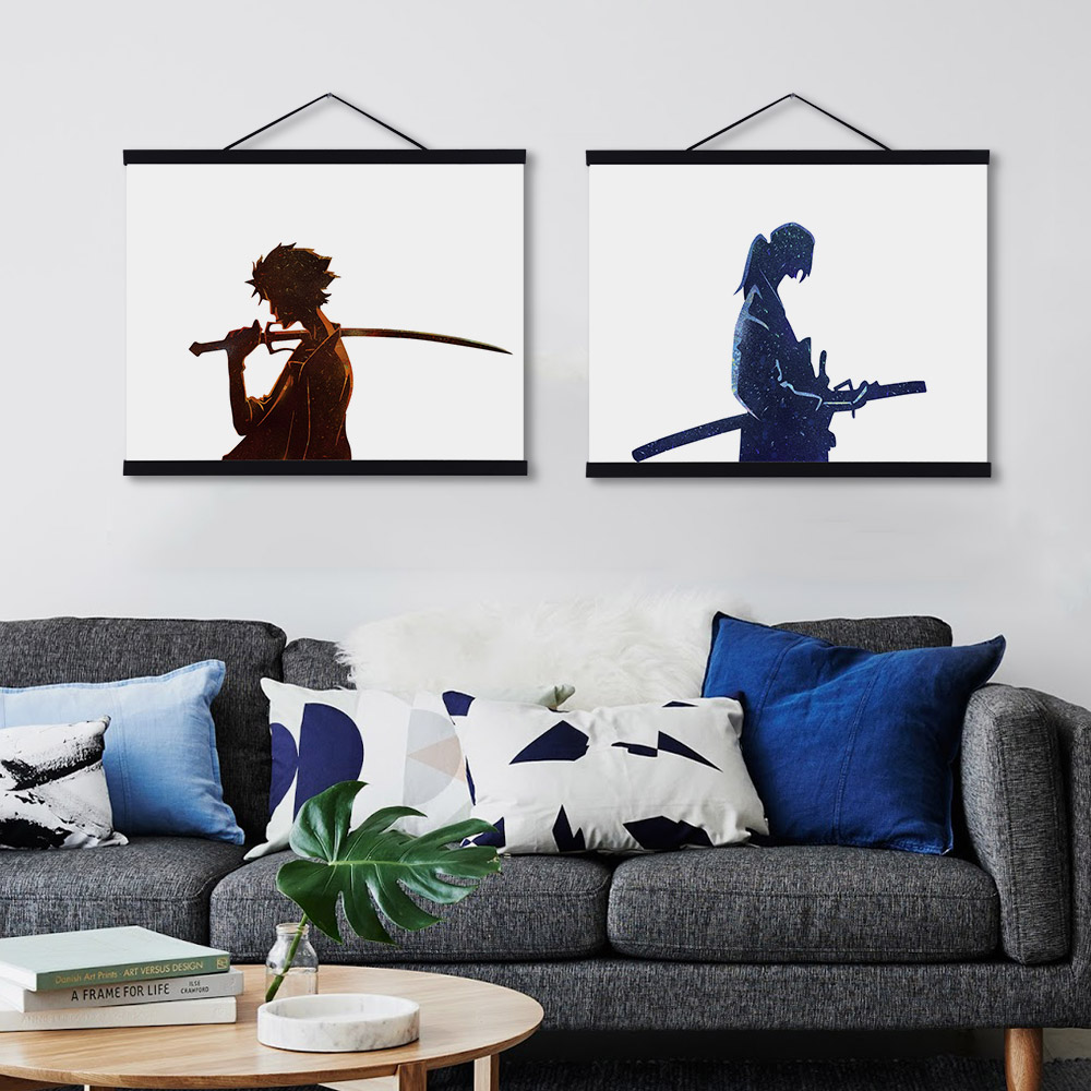 Us 9 35 47 Off Modern Watercolor Japanese Samurai Champloo Wooden Framed Canvas Paintings Kids Room Home Decor Wall Art Print Pictures Poster In