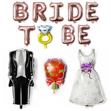 Large Bride Groom Wedding Decoration Balloon Team Bride To Be Mr Mrs Wedding Banner Bridal Shower Bachelorette Party Supplies(China)