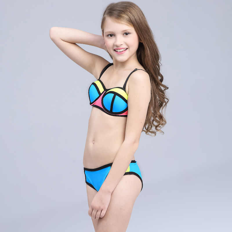 7c2883029346 ... 2019 New Girls Swimsuit Cute Patchwork Bikini Set Kids Swimwear Two  Piece Bathing Suits Biquini Children ...