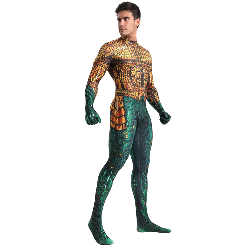 Deluxe Aquaman Cosplay Costume Men Arthur Curry Cosplay Zentai Bodysuit DC Superhero Halloween Costume For Adult Carnival Suit in Movie TV costumes from Novelty Special Use