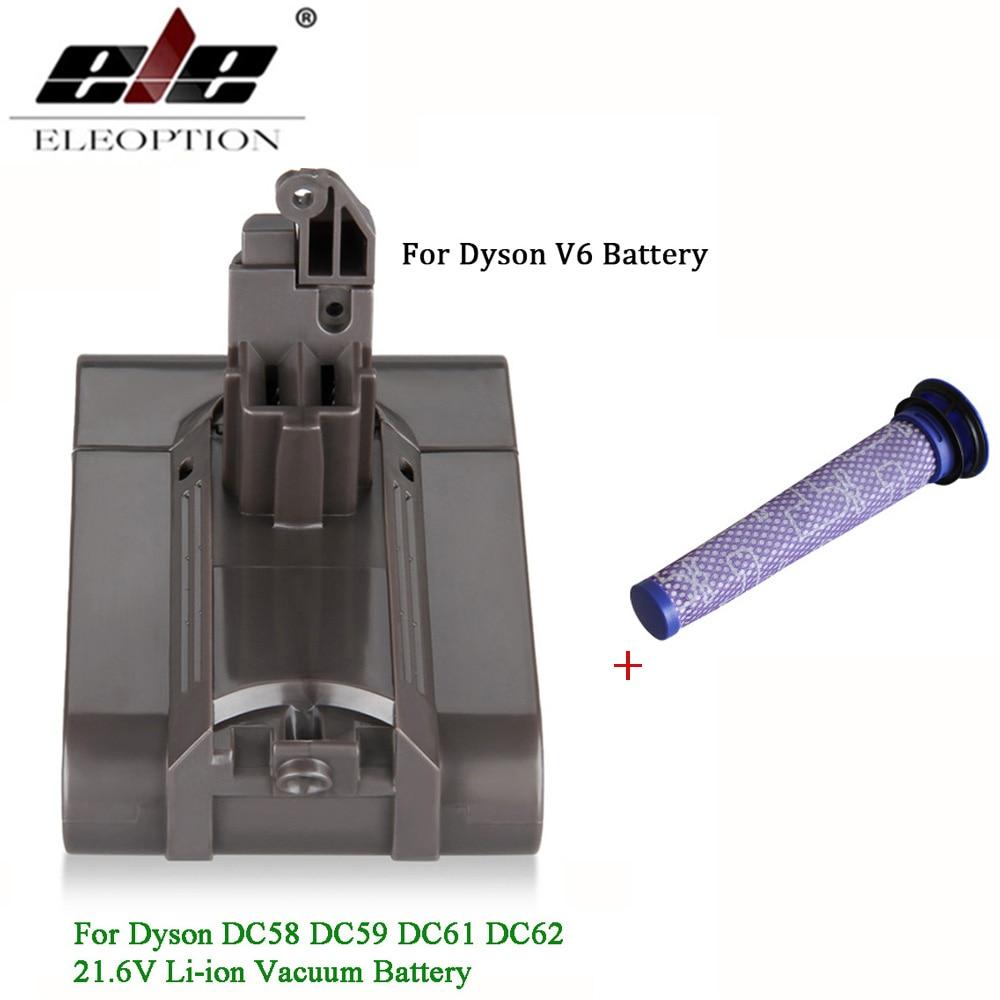 Ajouter un Filtre V6 21.6V 3000mAh Li-ion Batterie pour Dyson V6 Batterie pour DC58 DC59 DC61 DC62 Aspirateur SV09 SV07 SV03 SV04 SV06