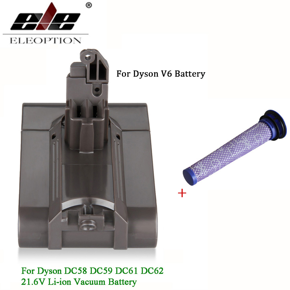 Add Filter V6 21.6V 3000mAh Li-ion Battery For Dyson V6 Battery For DC58 DC59 DC61 DC62 Vacuum Cleaner SV09 SV07 SV03 SV04 SV06