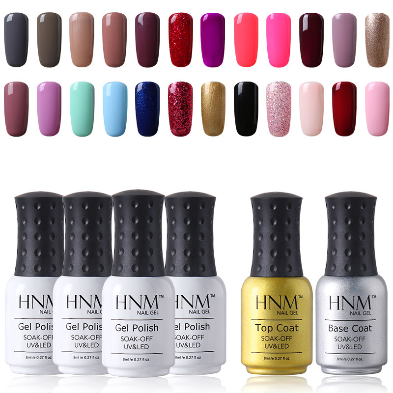 HNM 12pcs/lot Set Pure Color Series Nail Polish Set Nails Kit Profesional  Nail Gelpolish Kit Paint Gellak Hybrid Varnish Sets