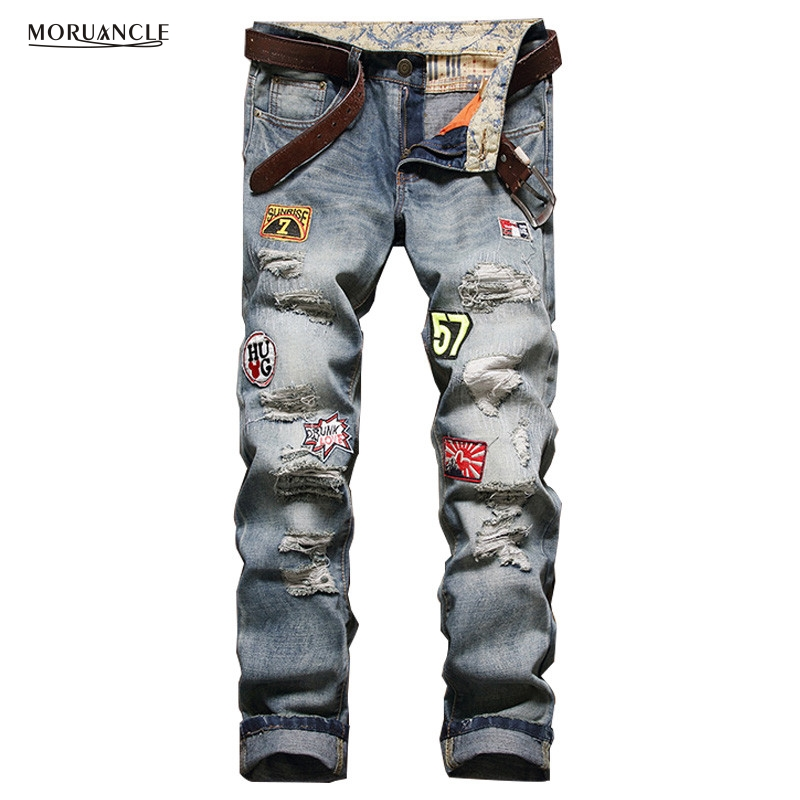 Fashion Designer Mens Patches Jeans Distressed Denim Joggers Patchwork Slim Fit Ripped Jean Trousers Straight Washed E0007 fashion mens brand ripped jeans 100% cotton famous brand designer mens jeans patchwork mens distressed patchwork jeans q1730