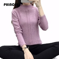 PHINCEE Thicken Pullovers And Sweaters For Women 2017 Autumn Winter Warm Turtleneck Knitting Coat Female Ruched
