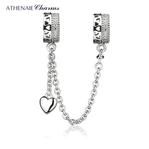 Image 1 - ATHENAIE 925 Sterling Silver Clear CZ Forever Love Hearts Safety Chain Charms Beads DIY Jewelry Fit European Bracelets Bangle
