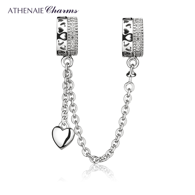 ATHENAIE 925 Sterling Silver Clear CZ Forever Love Hearts Safety Chain Charms Beads DIY Jewelry Fit European Bracelets Bangle