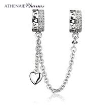 ATHENAIE 925 فضة واضح تشيكوسلوفاكيا للأبد الحب قلوب سلسلة أمان دلايات الخرز لتقوم بها بنفسك مجوهرات صالح الأوروبي إسورة