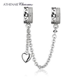 404eb1734a5d ATHENAIE de Plata de Ley 925 CZ claro para siempre amor corazones cadena de  seguridad encantos de la joyería de DIY Fit European pulseras brazalete
