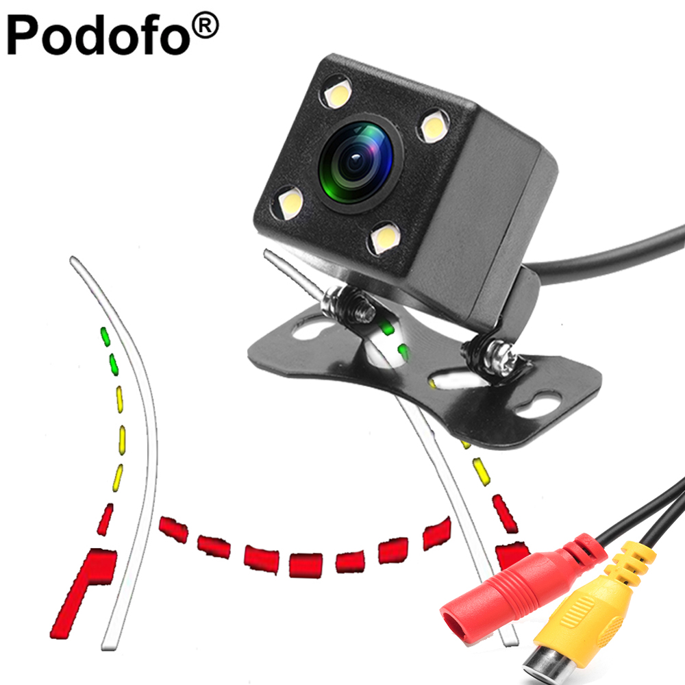 Podofo HD Waterproof Car Rear View Backup Camera Night Vision 170 degre Universal Intelligent Dynamic Trajectory Reverse Camera
