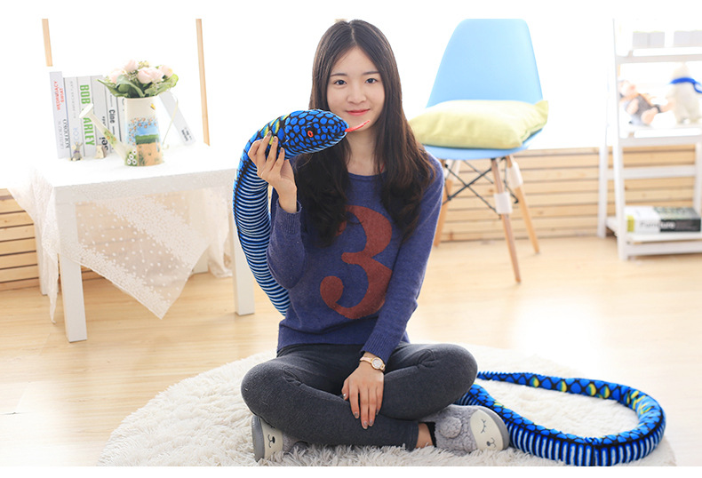 big long plush snake toy stuffed big pattern python toy blue boa gift toy about 280cm