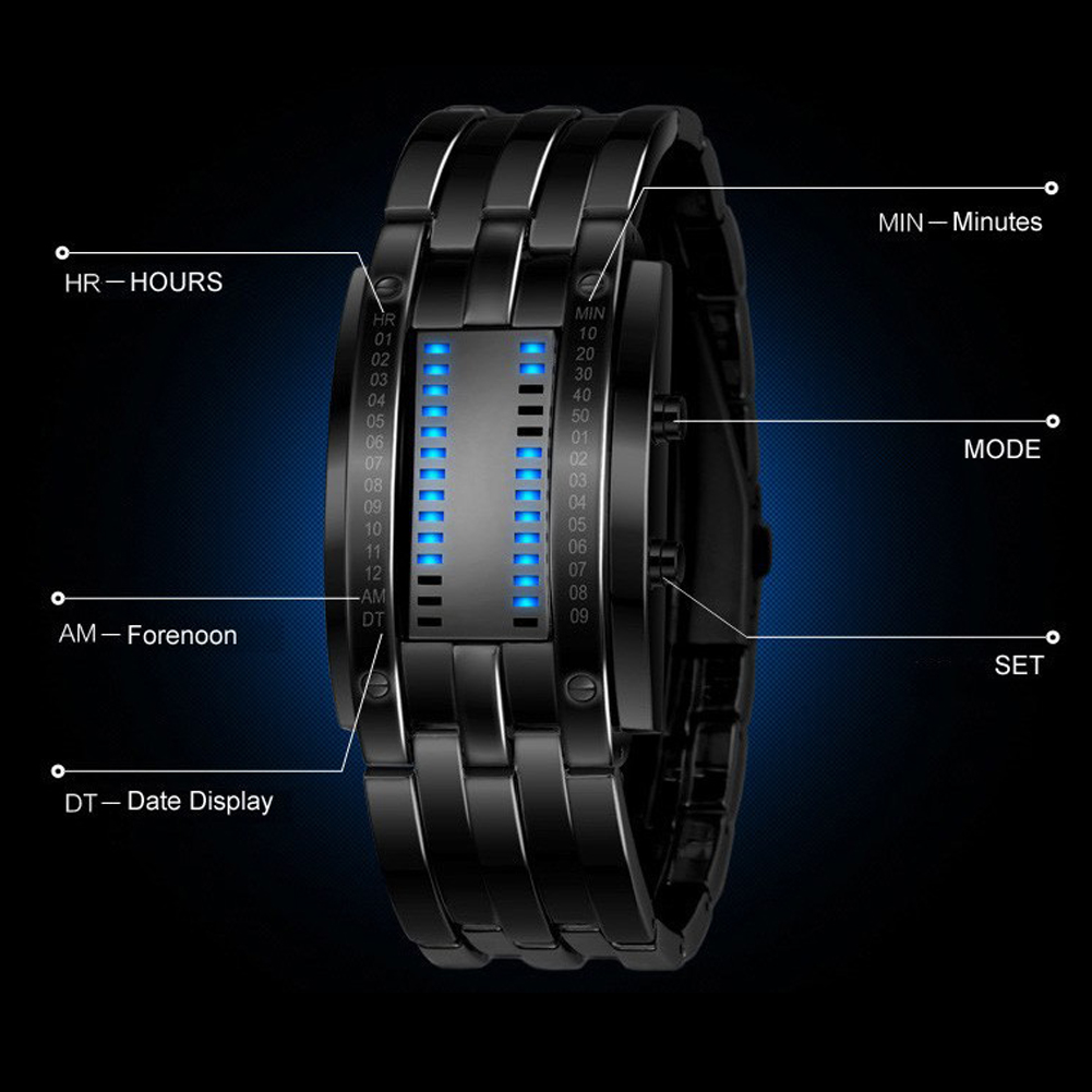 Luxury LED Electronic Blue Binary Watch Men Luminous Sports LED Watch Women Men Stainless Steel Digital Watch 18