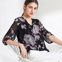 100% размера плюс шелковая блузка Женский Топ простой дизайн круглый вырез рукава Свободный Топ Новая Мода Высокое качество шелковые блузки ...